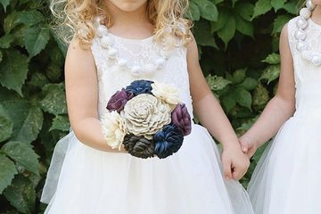 Flower girl bouquet.  Wood flowers.
