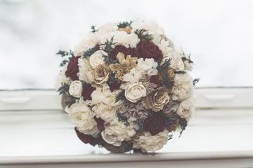 Hydrangea bridal bouquet.  Wood flowers.