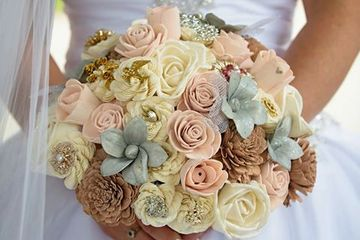 Full size bridal bouquet.  Wood flowers.
