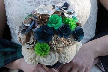Medium bridal bouquet.  Wood flowers.