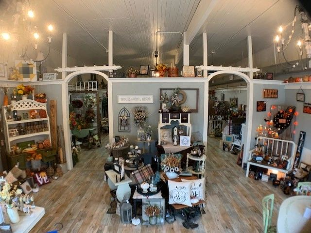 Inside of Painted Barrels vendor boutique featuring gifts, decor and more!
