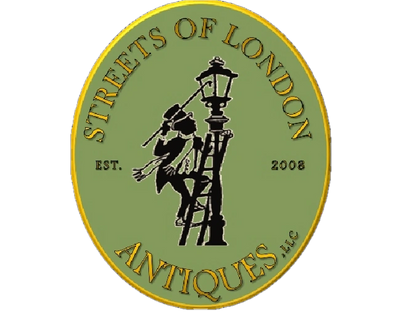 Lantern lighter logo of Streets of London Antiques, Cary, NC established 2008