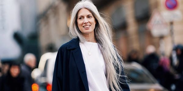 Gray hair, long hair, going gray, daphne guinness
