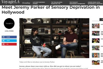 Voyage Los Angeles interview with producer Jeremy Parker of Sensory Deprivation podcast in Hollywood