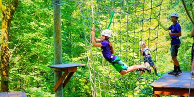 Youth on high ropes course
