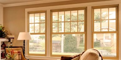 interior double hung wood trim windows installed