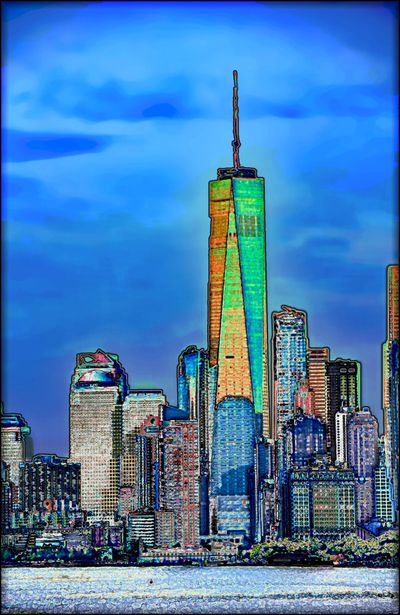 "Roberta Schofield's digitally altered photograph titled ""Manhattan Island"" 52"" x 80"", ink on canvas"