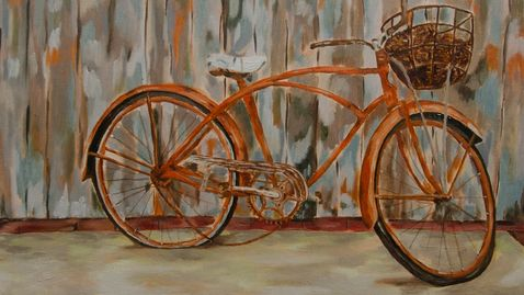 oil painting of bike against old building