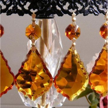 amber colored chandelier crystals