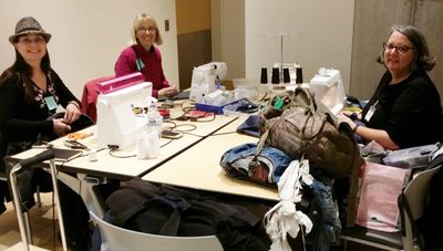 Mobile Menders sewing event at the Minneapolis downtown Central Library, on a Sunday morning.  TY