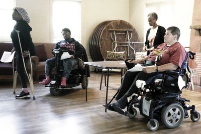 IRETONIA: A Sc-Fi Fantasy in rehearsal. Photo courtesy of Wry Crips Writer's Theatre for Disabled Wo