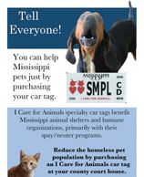 Mississippi I Care for Animals Car Tag Poster