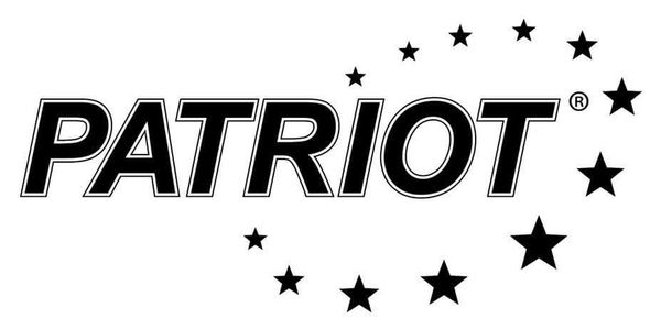 The image is the Patriot logo, black capital letters on a white background encircled by stars.