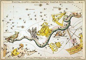 Hydra and surrounding constellations, from Urania's Mirror (1825).
