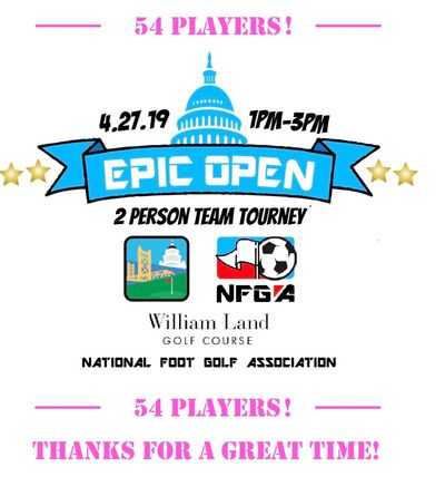 Epic Open footgolf tournament at William Land golf course logo