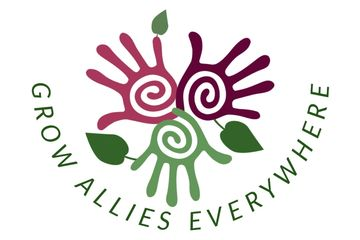 Logo of three hands of different colors with leaves growing out of them surrounded by the words Grow