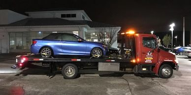 Flatbed towing and roadside assistance in Worcester MA to Shrewsbury Recommended rollback service.
