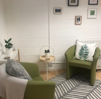 Counselling in Brighouse. The counsellors chair and the clients chair