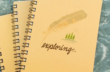 "Hand drawn, hand-printed ""Exploring"" journal from Kolling Cards and Things Made Here!"