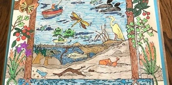 """At the Lake"" Minne-Mural™ Coloring Art Poster colored with gel pens by Shirley."