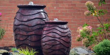 Aquascape bubbling scalloped urn water feature front yard Pittsburgh Pennsylvania fountain scape