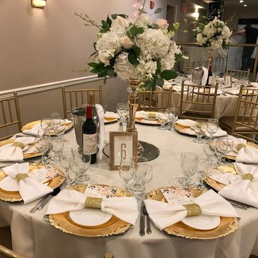 Wedding Celebration with beautiful table setting.