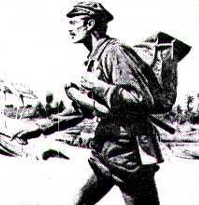 Drawing of barefoot mailman--likely Charlie Pierce  (Photo from boyntonbeach.com)