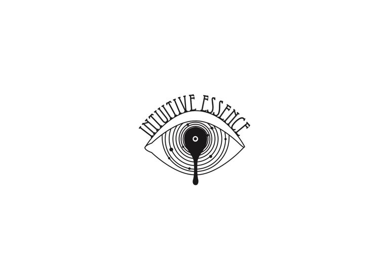 Intuitive Essence Logo eye and orbits of cosmic space with an oil dripping from the center.