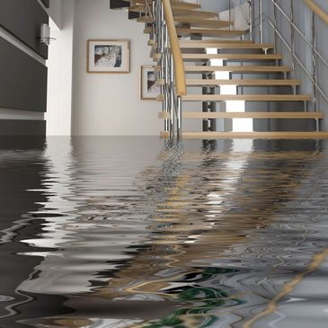 Flooded house that has been treated for water damage.