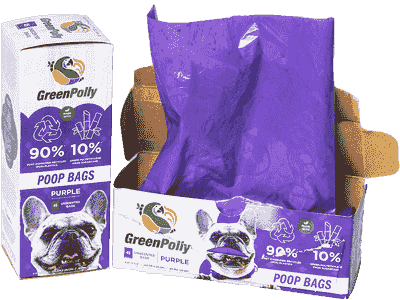 Unscented GreenPolly Poop Bags (Purple) - Retail Box - 45 Bags