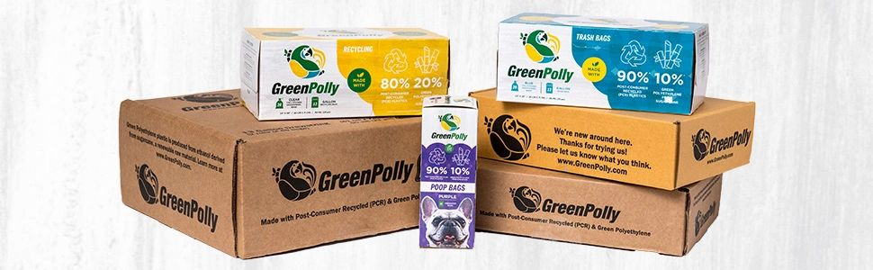Pile of GreenPolly retail and FFP products