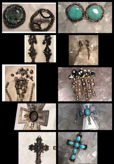 Crosses, Earrings, Pendants, Turquoise. Restored Jewelry Pieces from the Thomas Fire from Southern California.