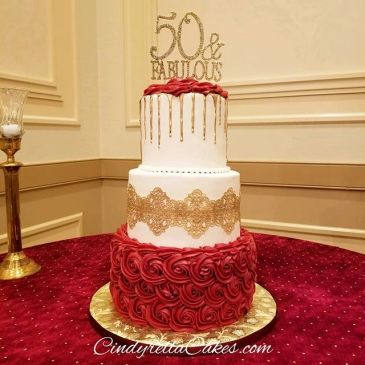 50th birthday red and gold cake celebration at Douglasville conference center