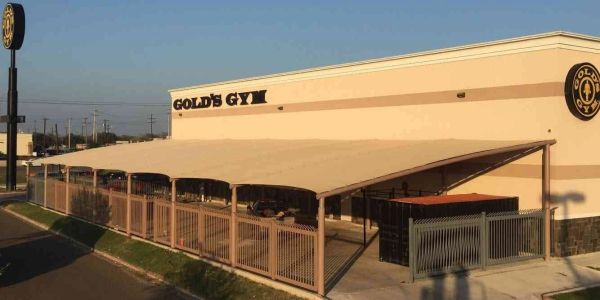 Commercial Shade Structure for Gold's Gym in McAllen, TX.