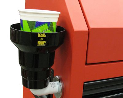 Magnetic cup holder on tool box. Magnetic cup holder for tractor, bulldozer lawn equipment and more.