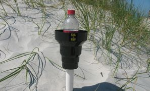 Beach cup holder holds your drink out of the hot messy sand at the beach. KAZeKUP Beach Drink Holder