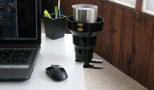 KAZeKUP Clip on cup holder clamps to many surfaces providing a convenient way to hold your beverages