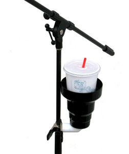 Clip On Cup Holder for microphone stand. Microphone Stand Cup Holder attachment holding large drink.