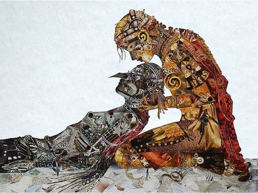 """Fallen"" by Patricia Srigley could be interpreted as depicting a Shamanic practice."