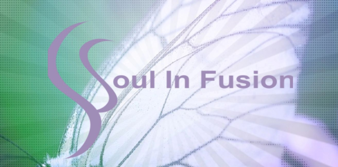 Logo is Soul In Fusion written out across center of a white butterfly with purple/violet (same color as writing) rays emitted at front reaching across entire picture set on a green background..