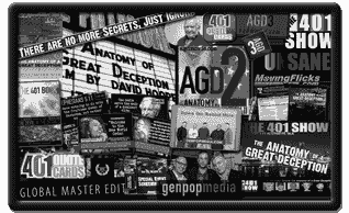 Collage of GenpopMedia productions; Anatomy of a Great Deception, 401 Book, DTRH Show, 401 Quotes...