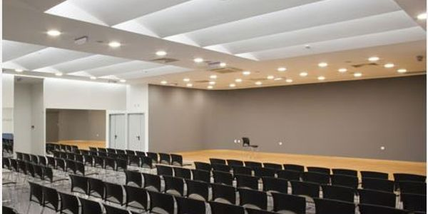 Commercial recessed lighting install at a business convention hall.