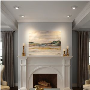 Residential Recessed Lighting install showcasing a painting.