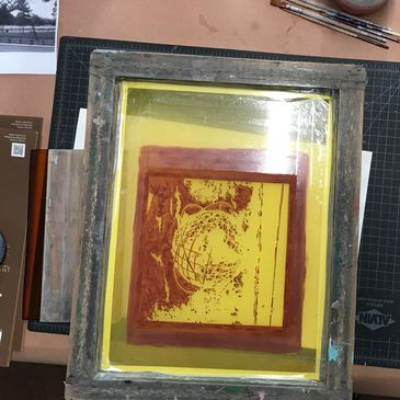 reduction printing silkscreen in Jim Winters' studio