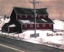 """Highway 151"" by Karl Sternberg Charcoal on paper. Taag Fine Art Gallery."