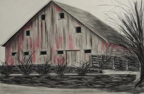 """Scott Blvd"" by Karl Sternberg,  Charcoal, Red and White Chalk on Paper.  Taag Fine Art Gallery."