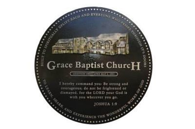 Corner Maker for Church featuring an image of the church, the name of the church and Bible Verse Jos