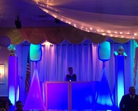 wedding event includes dancing on a cloud motion monogram dj services uplighting