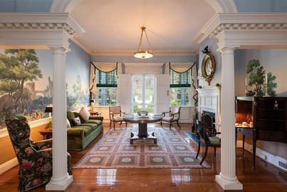 The living room and entryway of historic Edgemont