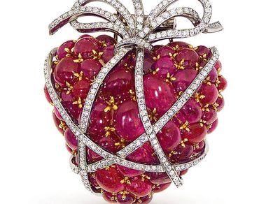 Vedura, Platinum and 18kt Yellow Gold , Ruby and Diamond Heart Brooch.